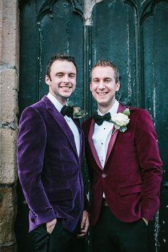 Imai Smith My Wedding A Vivienne Westwood Floral Frock and Purple Velvet Jacket. Jewel Tone Wedding, Purple Wedding, Wedding Colors, Wedding Flowers, Wedding Men, Wedding Suits, Wedding Ideas, Farm Wedding, Wedding Attire