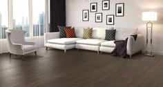 Brownstone Oak natural authentic laminate floor. Brown color, oak wood finish, 12mm 1-strip plank laminate flooring, easy to install, PERGO lifetime warranty.