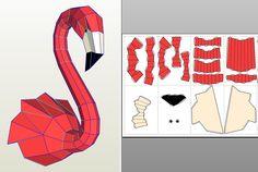 3D Papercraft Flamingo-Wand-Dekor. DIY Flamingo Papierskulptur erstaunlich! Es wirklich sieht sehr stylish im Inneren, Aufmerksamkeit und bewirkt, dass die Wirkung von WOW! Du kaufst das digitale Anleitung & Vorlagen nur, nicht das physische Modell! Die Vorlagen sind als 13 Seiten PDF