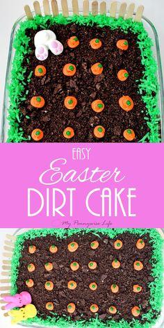 Easy Easter Dirt Cake: An easy, festive, no-bake Easter dessert. (Gluten-free option included!) via /mypennywiselife/