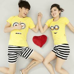 Couples Women & Men Despicable Me Cotton T Shirt Lovers 2016 New Tops Short Sleeve t-shirt Cartoon Tees for Couple O Neck Matching Couple Outfits, Matching Couples, Couple Tees, Short Tops, Boyfriend Girlfriend, Printed Shorts, Girlfriends, Cute Outfits, Yellow
