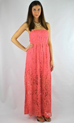 H.C.B  Strapless Lace Open Back Maxi Dress - Coral