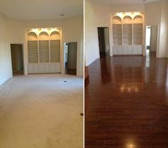 "Before & After – West African Mahogany! ""Just wanted to show my hard work. House was on the market for months and it would not sell. Priced right too. Updated the home with new laminate and it sold within one month. [Melvin Moore Real Estate]"" – Melvin, MS"