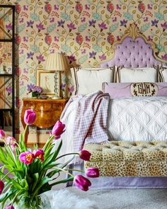 Powers | Gray Walker Interiors #interiordesign #homedecor #bedroom #bed #leopard #lavender #purple #tulips #wallpaper