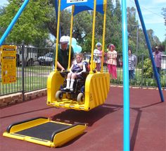 Liberty Swing in Anzac Park Tamworth enables wheelchair bound kids to enjoy the exhilaration of using a swing.