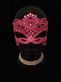 Hot Pink Rhinestone Masquerade Ball Mask. Burlesque Cabaret Vintage Costume #EmpireMiniTopHats