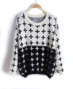 Oversized Color Block Fluffy Knit Jumper with Cross Print