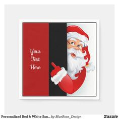 Personalized Red & White Santa Napkins Holiday Cards, Christmas Cards, Christmas Napkins, Ecru Color, Cocktail Napkins, Paper Napkins, Holiday Outfits, Christmas Card Holders, Keep It Cleaner