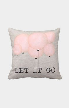 Pillow Cover Pink Balloons Let it Go Cotton
