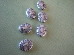 6PCS Silver Toned Pewter Beads  Unique Geometric by ZARDENIA, $3.00