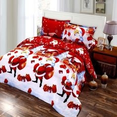 32.99$  Buy here - http://aipnt.worlditems.win/all/product.php?id=H17674KI4 - 4pcs Cotton Material 3D Printed Cartoon Merry Christmas Gift Santa Claus Bedding Set Bedclothes Duvet Quilt Cover Bed Sheet 2 Pillowcases