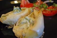 Chicken and Broccoli Stuffed Shells with Alfredo Sauce
