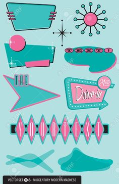 Set Of 10 Retro, 1950s-style Design Elements For Logos, Labels,.. Royalty Free…
