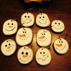 Wooden snowmen faces #Woodensnowmen