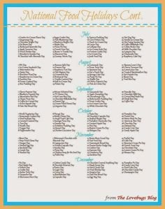 List Of National Holidays, List Of National Days, National Food Day Calendar, New Years Eve Events, Day List, Holidays With Kids, Silly Holidays, Printable Calendar Template