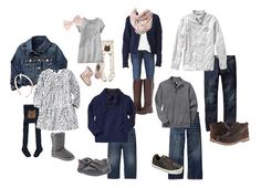 2014 Family Picture Outfits! Navy/Grey/White theme with pops of soft pink for the girls. :)