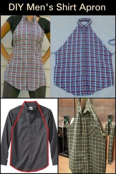 Turn these pre-made men's shirts into aprons! - Turn these pre-made men's shirts into aprons! Easy Sewing Projects, Sewing Projects For Beginners, Sewing Hacks, Sewing Tutorials, Sewing Patterns, Sewing Tips, Diy Projects, Dress Patterns, Half Apron Patterns