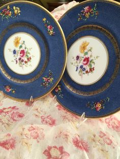 2 Antique Royal Doulton Dinner Plates/Circa 1923/Pattern H1207/Blue Border/ Floral Theme/Botanical/Fancy Dishes/Wedding Gift/10 Plus Inches by StyleJunkieAntiques on Etsy