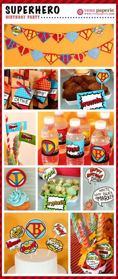 superhero party , DIY printable decoration by venspaperie