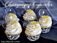 Champagne Cupcakes. Perfect for a bridal shower!