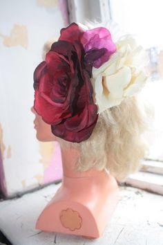 Rockabilly Hair flower//Giant Rose & Gladioli flower// Burlesque//Pin up