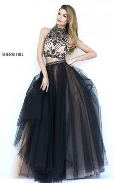 Black Sherri Hill 11211 Two Piece Evening Gown