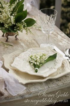 StoneGable: LILY OF THE VALLEY TABLESCAPE . . . this flower always reminds me of my grandma's porch . . .