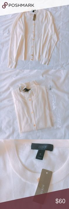"""Wool Cardigan +measurements 23"""" length, 17"""" chest (armpit to armpit)  +product info White/cream color Jackie wool Cardigan with gold buttons. Long sleeve. Retail.  +composition  100% merino wool  +condition  Never worn. New, with tags. J. Crew Sweaters Cardigans"""