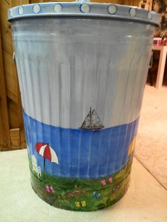 30 Gallon Decorative Hand Painted  by krystasinthepointe on Etsy