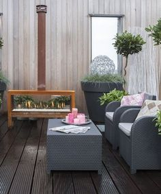 Free standing #fireplace THE MOOD by DIM'ORA #outdoor