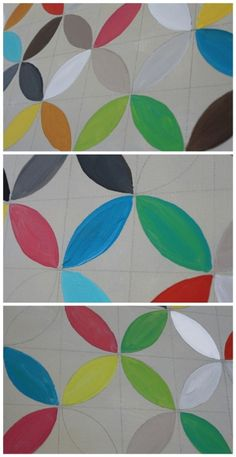 Geometric DIY Painted Canvas. Hurray, a use for my compass! --Don't bother following the link, though.