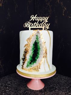 Beautiful green Geode birthday cake @ Baked By Opy