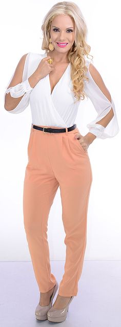 Revoked (White/Peach)-$23.80-Revoke the haters with this sassy jumpsuit. The cross-over bust design has a snap closure for proper coverage and a button back neck. The open back has a button neck and zipper closure for a secure fit. A belt wraps the contrasting waist for added flair. This style measures 45 inches from underarm to hem, 28 at the inseam, and has a 6 inch booth width.