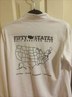 White running Jacket with Map on back - Paint in your 50 states half marathon journey - Fifty States Half Marathon Club running gear, club gear www.50stateshalfmarathonclub.com