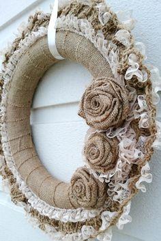 Handmade Door Wreath, Burlap Wreath, Front Door Decoration,