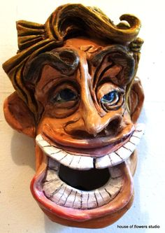 Car salesman pottery faces by Robilee McIntyre by FuzzyLightBulb, $95.00