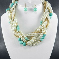 FASHION QUALITY MULTI PEARL BEADS BRAID STYLE NECKLACE SET $24.99 by Justbella's on Opensky
