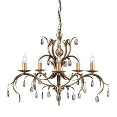 Elstead Lily 5 Light Metallic Bronze Candle Chandelier