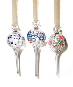 Glass Ornaments Lampworked Set of 3 by jessieglass on Etsy, $40.00