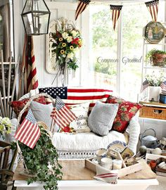 Patriotic Sunporch Memorial Day, Memorial Poems, Fourth Of July Decor, July 4th, Summer Porch Decor, Savvy Southern Style, Home Of The Brave, Patriotic Decorations, Patriotic Party