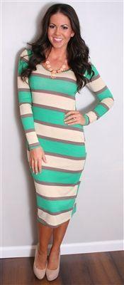 Mint Green,Gray&White Strip Maxi Dress