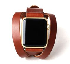 Apple Watch Double Tour Split Wrap Band   Whiskey Brown - Antique Brass Buckle/Loops   Full Grain Vegetable Tanned Leather by ArrowandBoard on Etsy https://www.etsy.com/listing/249008867/apple-watch-double-tour-split-wrap-band