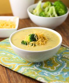 This Broccoli and Cheddar soup is delicious and hearty. Made with fresh broccoli and grated cheddar cheese for a wonderful flavor. Make sure you use freshly grated cheese, no pre-shredded in th Soup Recipes, Cooking Recipes, Healthy Recipes, Recipies, Supper Recipes, Healthy Foods, Cheddar Soup Recipe, Broccoli Cheddar, Fresh Broccoli