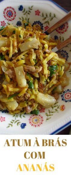 Atum à Brás com ananás | Food From Portugal. Se pretende preparar uma receita nutritiva para agradar a toda a família, esta receita é a ideal, combina vários sabores e nutrientes que todos gostam! Bom apetite! #receita #atum #ananás