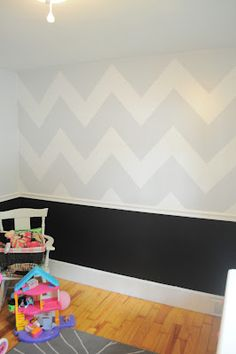 chevron + chalk board wall... love this idea for the kids playroom! Maybe do rainbow chevrons!