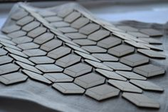 Geometric Textiles Design - linen & wire mesh with laser cut & engraved wood Laura Krumina