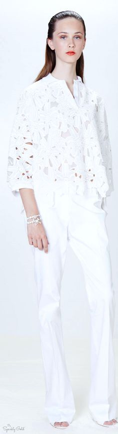 Blugirl Resort 2016 OUTFIT INSPIRATION: | White Lace Blouse + COORDINATING White Pants + Accessorized with Crystal/Rhinestone Jewelry.