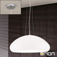 Laisa Pendant Lamp, chrome finish with white shade - Ceiling