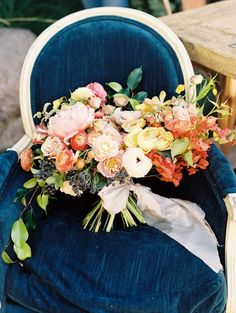 Bright+and+Colorful+Summer+Wedding+Bouquet+on+a+Blue+Velvet+Chair