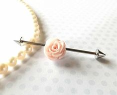 Industrial Barbell With Peach Rose Body Jewelry Ear Jewelry Double Piercing Claires Ear Piercing, Piercing Ring, Ear Piercings, Double Piercing, Body Peircings, Barbell Piercing, Double Cartilage, Double Helix, Ear Jewelry